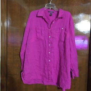 Linen pink Lauren Ralph Lauren button up shirt
